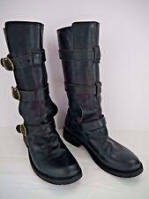 FIORENTINI + BAKER 7040 Eternity black leather triple strap boots Italian 37.5
