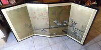 ANTIQUE ASIAN FOLDING PANEL SCREEN WATERCOLOR ON SILK SIGNED 35X60 four panels