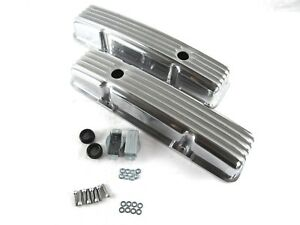 SBC Chevy 350/383 Short Retro Style Finned Valve Cover Aluminum E41002P