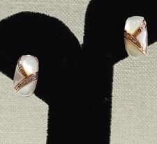 Rose Gold, 10k, Mother of Pearl French Clip earrings
