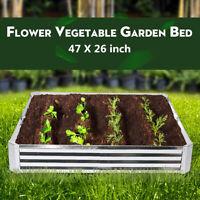 Raised Garden Bed Metal Patio Backyard Flower Vegetable Pot Planter 47X26 inch