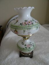 """VINTAGE FLORAL FLOWER GONE WITH WIND TABLE LAMP Milk Glass Accurate Cast 20"""""""