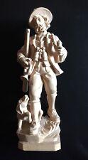 Hübsche alte Holzgeschnitzte Figur Jäger mit Hund