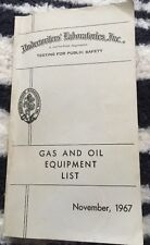 Underwriters Laboratories Gas and Oil Equipment List 1967 Complete Lists VG