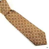 HERMES Heavy Men's Silk Neck Tie FRANCE Luxury Geometric Br. Ecru Rust Authentic