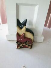 "6"" Americana Patriotic Wood Cat Grouping Shelf Sitter Figurine, New"