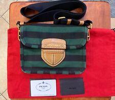 Authentic Vintage PRADA Leather and Striped Canvas Shoulder Bag