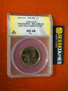 2000 D $1 SACAGAWEA DOLLAR ANACS MS68 PL FROM MILLENNIUM COIN AND CURRENCY SET