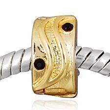 ANDANTE-STONES 14K GOLD BEAD CLIP STOPPER ZIRKONIA SCHWARZ #1461 + GESCHENK