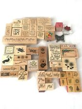 Lot of 55 STAMPIN UP Wood Word Stamps Holiday Valentines Studio G Stampendous