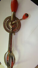 The Taplin Mfg Co.New Britain Conn Vintage Hand Mixer-Egg Beater Wood RED Handle