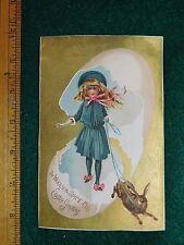 Victorian Easter Trade Card Lion Coffee Big Egg Girl Brown Rabbit #K