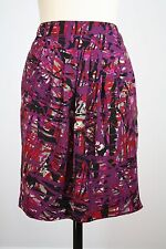 Ann Taylor Purple Abstract Print Pleated Print Straight Pencil Skirt Size 8