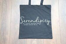 Premium Cotton Canvas Shopping Shoulder Tote Shopper Bags Black - Serendipity