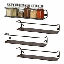 NEX Set of 4 Metal Spice Racks Organizer Wall Mounted Kitchen Storage Rack