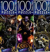 3 Pack of Marvel Avengers Infiniti War 100 pc Puzzles Hulk Capt America Iron Man