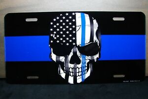 THIN BLUE LINE AND THE PUNISHER SKULL METAL CAR LICENSE PLATE