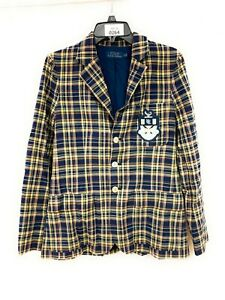 Women's Polo Ralph Lauren Plaid Patch Blazer Jacket Size 4