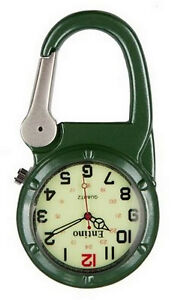 Entino Brand Silver Clip on Green Carabiner Sturdy FOB Watch Military Style