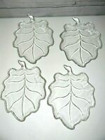 Vintage Glass Leaf Shaped Relish Dish/Dessert Lunch Plate 4 Piece Set