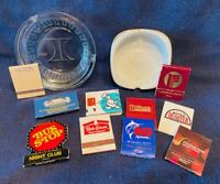 HILTON & RADISSON SOUVENIR GLASS ASH TRAYS PLUS MATCHBOOKS: RESTAURANTS, MORE