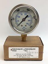 "Pressure Gauge 2-1/2"" - PGB254QLMC - 5000PSI - With kPa and Bar - 1/4"" NPT"
