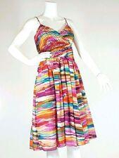ANNE KLEIN Dress Size 8 Rainbow Spaghetti Strap Cotton Silk Blend Summer