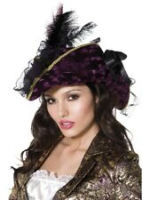 Fever Marauding Pirate Hat Purple With Feathers and Ribbon AC