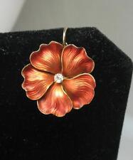 Pansy Diamond Enamel Pendant Flower Necklace 14K Gold Victorian Art Deco c1900