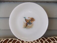Vintage Fire King White Milk Glass Bread Plate Game Bird Mallard Duck 6 1/4""