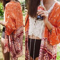 Women Vintage Floral Print Long Loose Kimono Jacket Coat Cardigan Blouses New