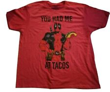 "NWOT Marvel Comics Deadpool ""You Had Me At Tacos"" Red t-shirt Men's Size 2XL"