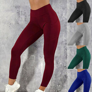 Womens High Waist Gym Leggings Pocket Fitness Sports Running Train Yoga Pants ~