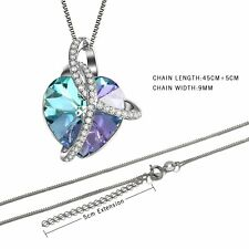 Love Heart Jewelry Necklace Made with Swarovski Elements Crystal Women Girl Gift