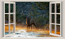 Deer & River Window View Repositionable Color Wall Sticker Wall Mural 3 FT