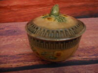 Antique Small Lidded Stoneware Bowl Jelly ? Floral Yellow Flower Crackled Chip