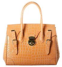 RAPHAEL Crocodile Alligator MANGO color RICKY Handbag Exotic Leather Purse ITALY