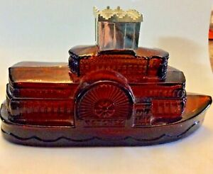 Vintage Avon brown glass river boat Wild Country after shave bottle
