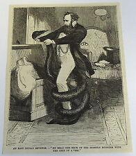 1883 magazine engraving ~ MAN WRESTLES WITH SNAKE East Indian Revenge