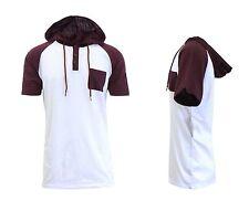 Men's Marled Short Sleeve Raglan Hoodie Jacket Sweater -Pull-Over -S-XL NWT