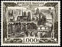 "FRANCE TIMBRE STAMP AVION N° 29 "" VUE DE PARIS 1000F "" NEUF X TB"