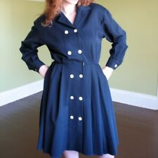 Anne Klein Navy Wool Coat Dress Double Breast Flared A Line Skirt Stunning M 8