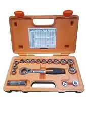 Concentrador De Herramienta métricas SAE 9460 ir a través de Trinquete Multi Fit Socket Set 17 un. 10 - 24 mm