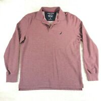 Nautica Performance Deck Shirt Men's Small Red Collared Long Sleeve
