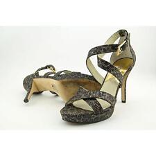 Michael Kors Evie Platform Cheetah Brown Leather Glitter Heel Sandal Size 9