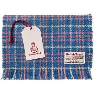 Harris Tweed Blue Pink & White Tartan Pure Wool Luxury Unisex Fringed Scarf