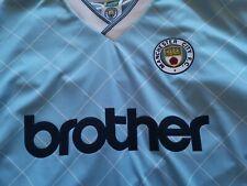 Score Draw Retro Mens Football Soccer Manchester City 1988 Shirt Jersey Top
