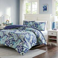 Full/Queen Melissa Reverse Comforter Mini Set Faux Fur, Micro Fiber Blue Design