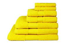 Yellow BathTowels 2x Large Luxury Soft 100% Cotton Sateen Stripe Border Neon