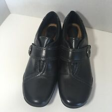 CLARKS Artisan Women's Black Leather Slip On Loafers Shoes Size 7.5 M